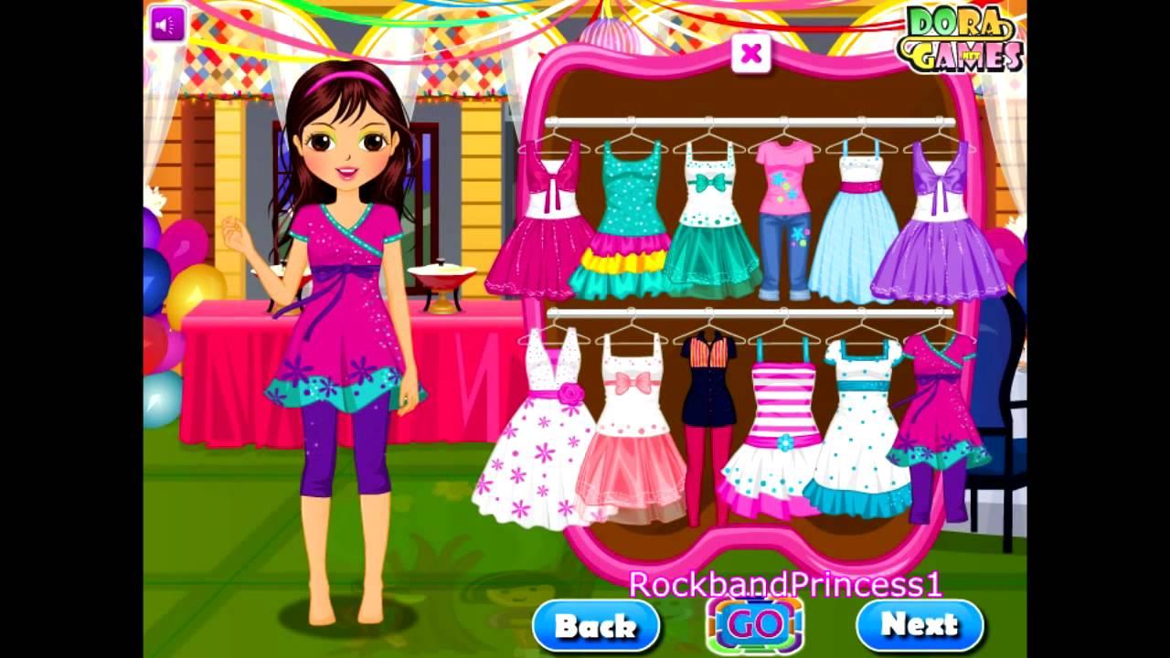Dora The Explorer - Party Dress Up Game - Dora Games - YouTube