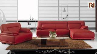 Modern Red Leather Sectional Sofa Vgbnbo3929a