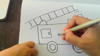 How to draw a FIRETRUCK! FOR KIDS and TODDLERS! So Easy and FUN!