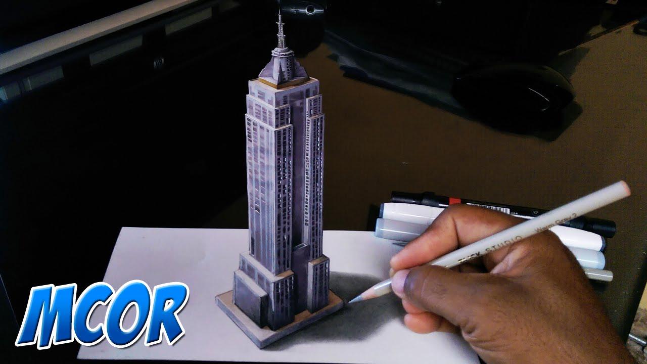 Como dibujar el edificio empire state en 3d youtube for Dibujar un mueble en 3d