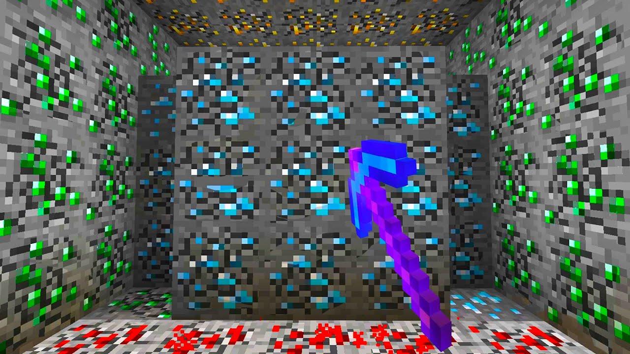 【マイクラ】1度で全てのブロックを破壊するダイヤツルハシがヤバいwww【マインクラフト 】【まいくら】