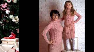 Вязаные платья в стиле фемели лук.#familylook