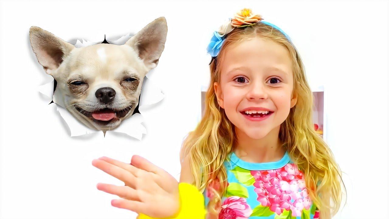 Nastya perdeu seu cachorro de estimação, história deestimação para crianças