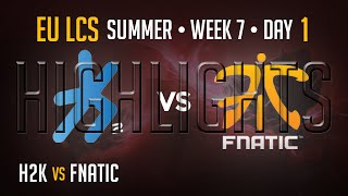 H2K vs Fnatic HIGHLIGHTS | Week 7 EU LCS Summer Split 2015 S5 | H2K vs FNC W7