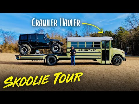 EPIC BUILD | COLLEGE STUDENT Converts School Bus Into Camper Toy Hauler for JEEP Adventures