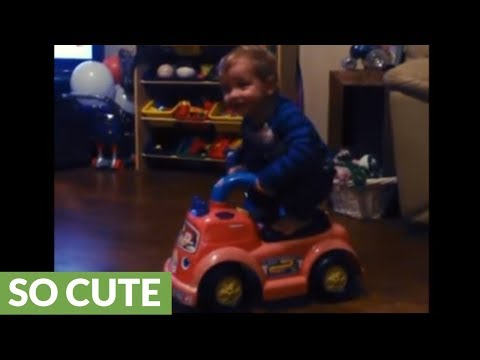 Little boy impressively shows off perfect balance