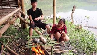 Primitive Technology- Catch and Grilled two Fishes by Beautiful Girl  in Forest- Eating Delicious