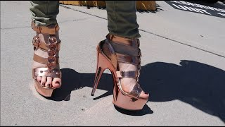 Unboxing Pleaser DELIGHT658 Rose Gold Chrome Strappy 6 Inch High Heel Platform Shoes