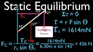 Physics, Torque (10 of 12) Static Equilibrium, Hanging Sign at an Angle No. 4