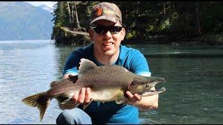 Catching pink salmon in Whittier Alaska - fishing for humpys