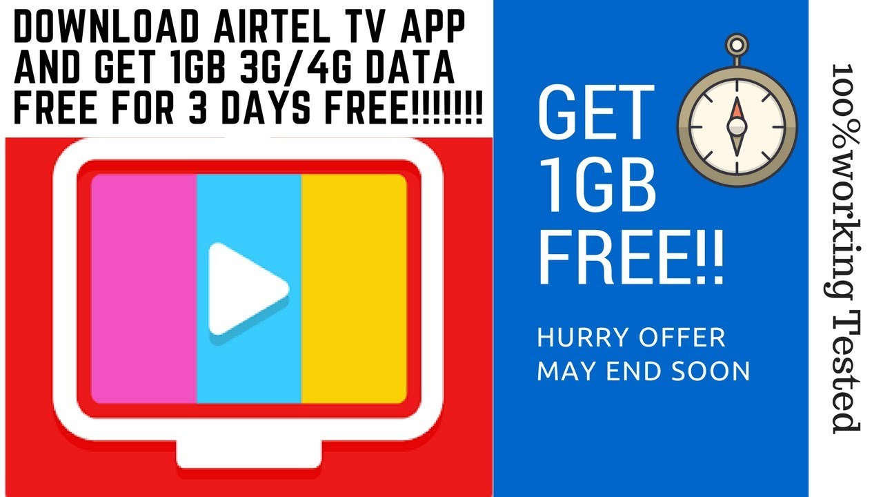 (for new&old user also)Download Airtel tv app and get assured 1gb free  3g/4g data {100% working}