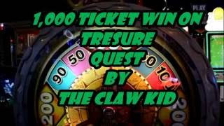 1000 TICKET ON THE TREASURE QUEST GAME AT DAVE AND BUSTERS