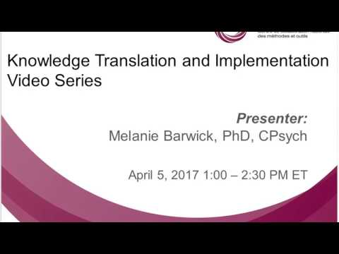 NCCMT Spotlight Webinar: Knowledge Translation and Implementation Video Series