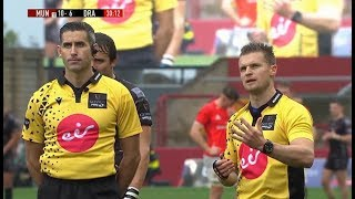 Referee and TMO work together for 2 yellow card decisions. [Munster vs Dragons '19]