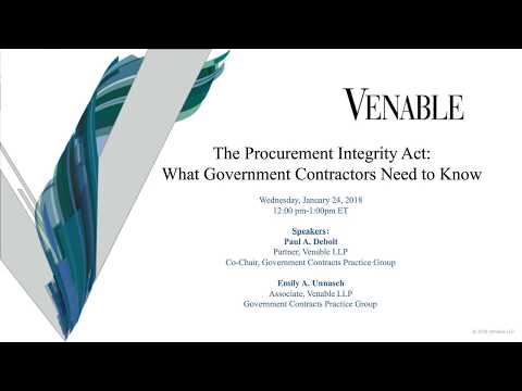 The Procurement Integrity Act: What Government Contractors Need to Know