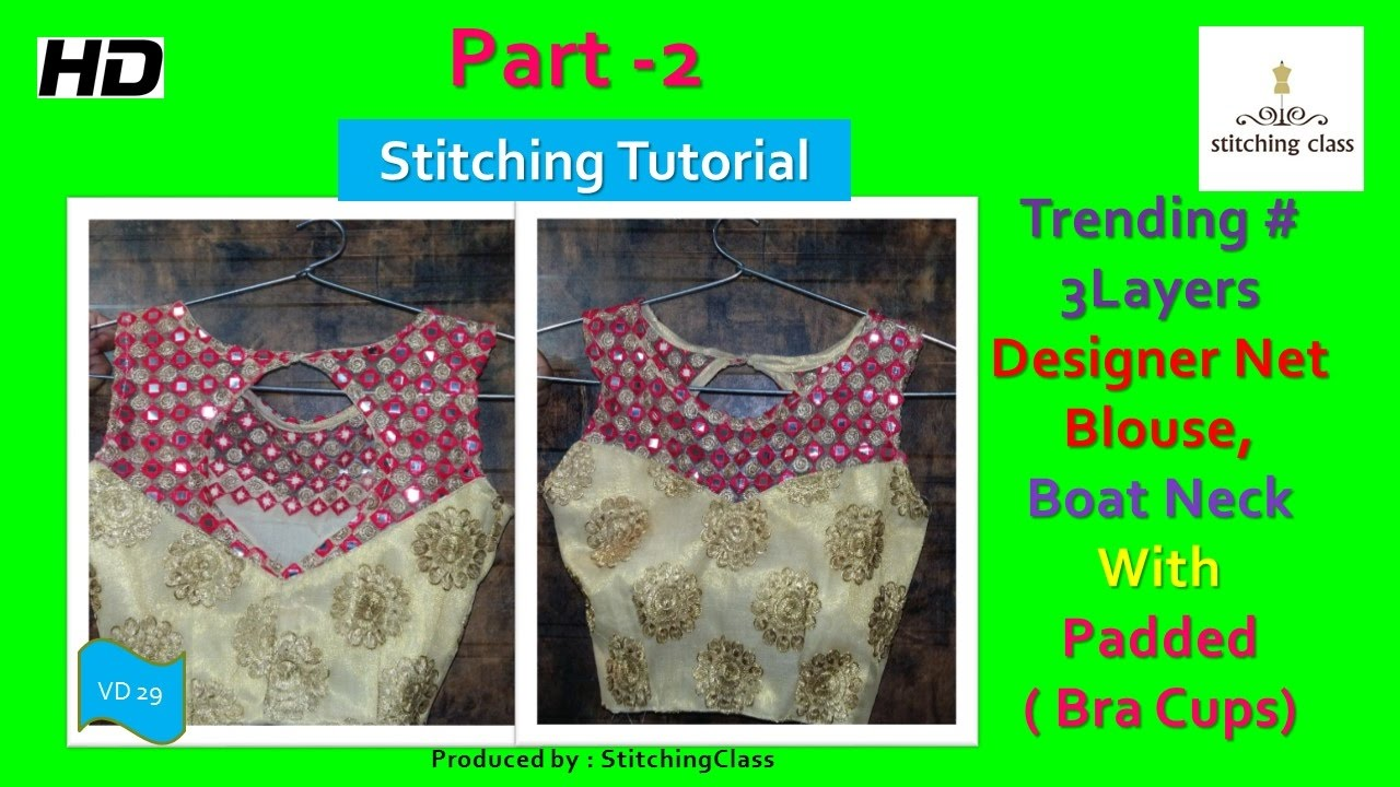 Designer Net Blouse Boat Neck With Bra Cups Padded Stitching Diy