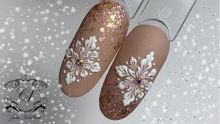 САМАЯ красивая СНЕЖИНКА. ЗЕФИРНЫЙ дизайн. Новогодний дизайн ногтей.