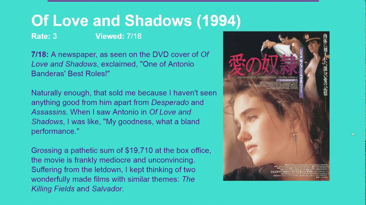 Movie Review: Of Love and Shadows (1994) HD - YouTube