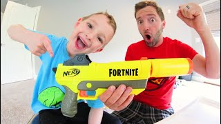 Father & Son Get A FORTNITE NERF BLASTER! / Silenced Nerf Darts!?