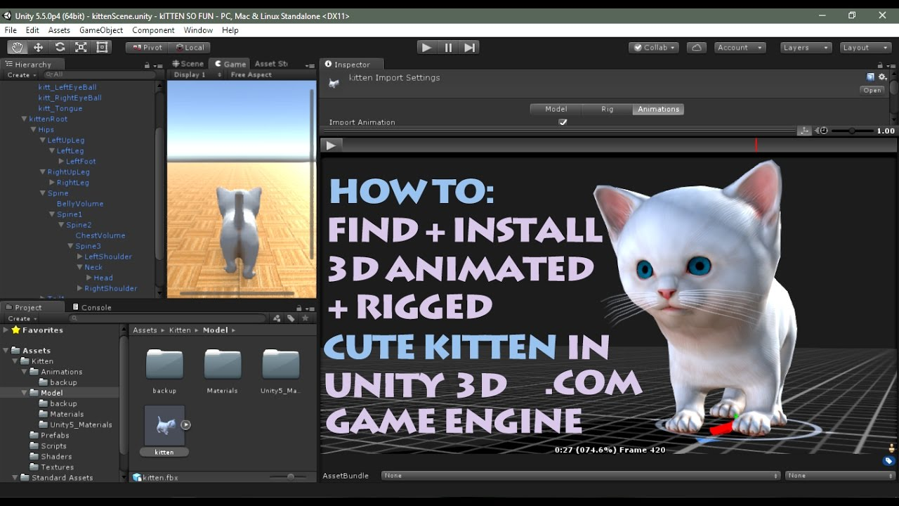Unity 3D Tutorial - How to install the free 3D cute kitten from the Unity  asset store part 1