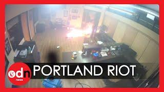 Shocking! CCTV Footage Captures Moment Protesters Set Portland Police Station on Fire