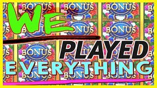 ★ WE PLAYED EVERY SLOT POSSIBLE! ★ #Let'sTravel 🔴 Live Play Slot Machine Group Pull