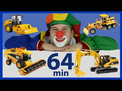 Funny videos for kids. Complication with Funny Clowns, Excavator, Garbage Trucks, Emergency Vehicles