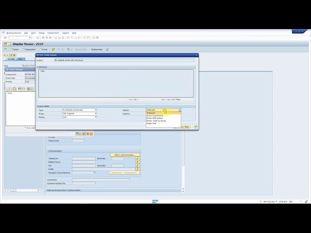 SAP Solution Manager Service Desk: attach a transaction shortcut to a Support Message