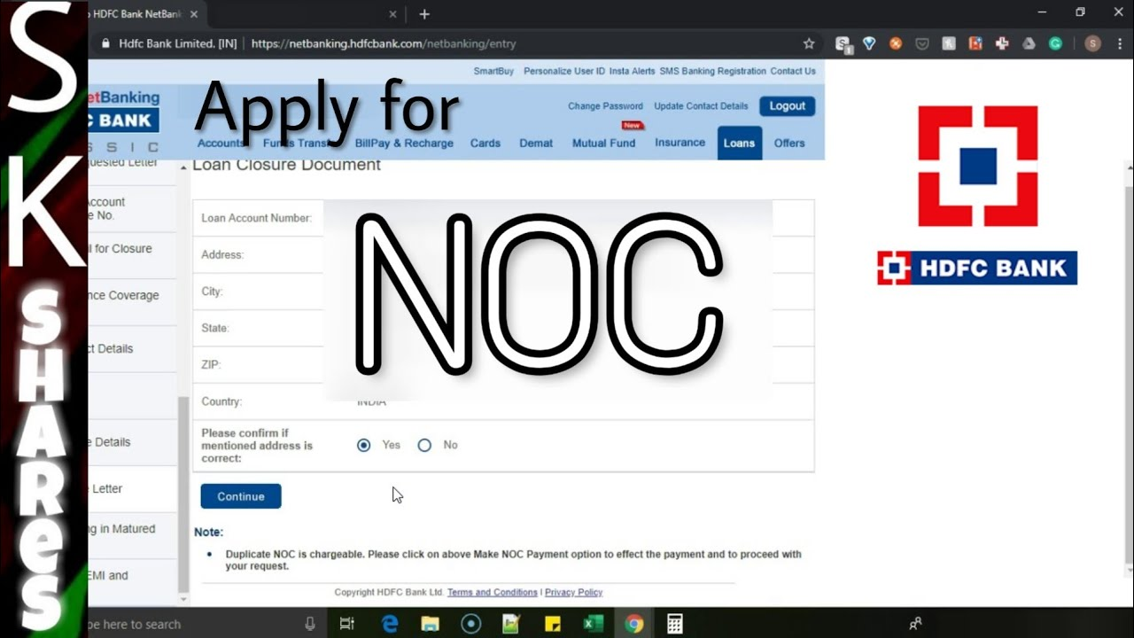 How To Apply For Noc Or Loan Closure Letter In Hdfc Net Banking Youtube