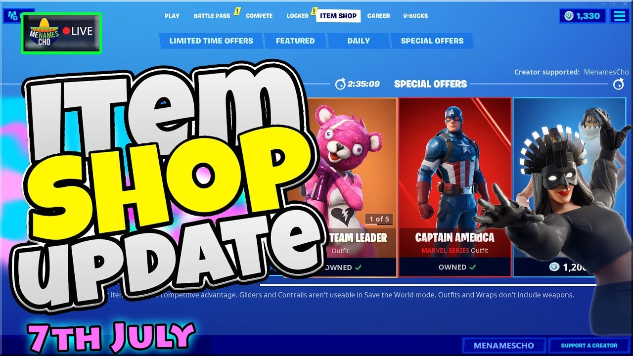 💥FORTNITE ITEM SHOP UPDATE 🔵 Countdown ⚡ LIVE - 7th July 2020 (Fortnite Battle Royale)