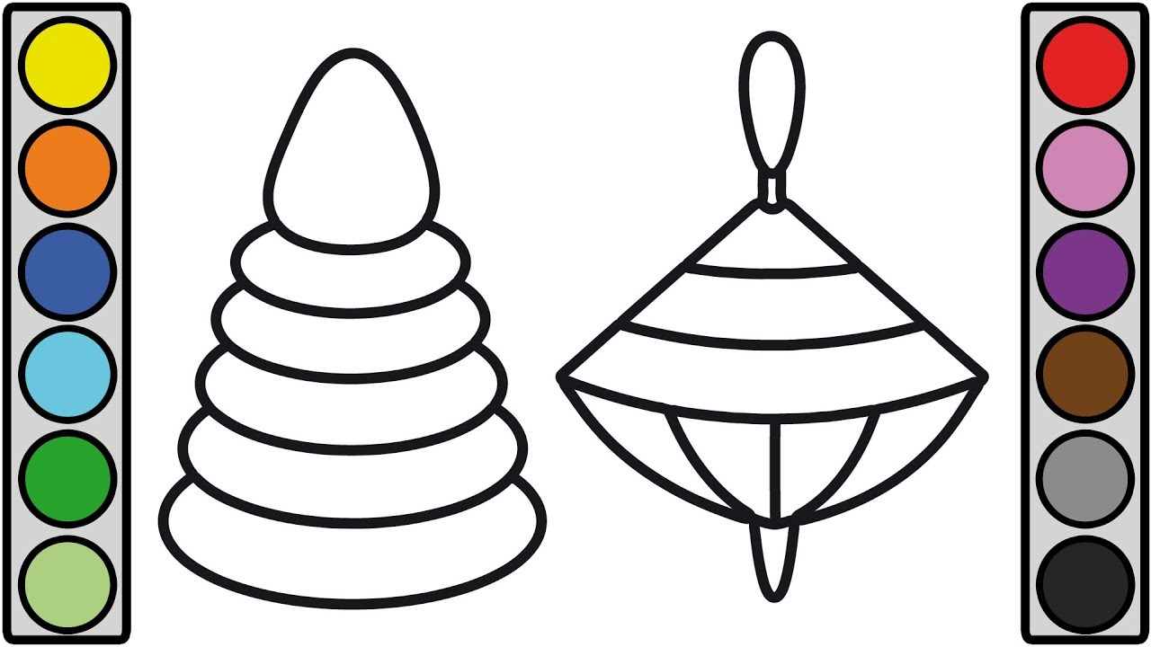 Coloring For Kids With Baby Pyramid Spinning Top Toy