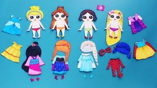PAPER DOLL PRINCESSES DRESS UP GLITTER DRESSES #paperdolls #papercrafts #happydolls