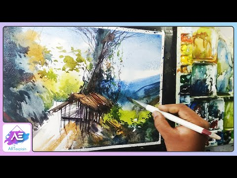 Beginners watercolor how to draw a house landscape by Art Explain