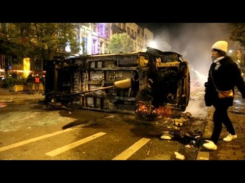 Moroccan football fans riot in Brussels after country