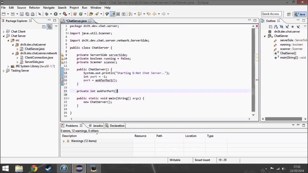 making a chat server client program in java time laps making a chat server client program in java time laps