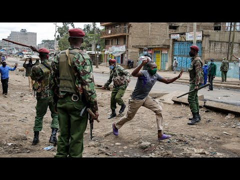 Kenyan police clash with protesters over wearing coronavirus face masks