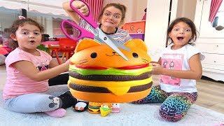 ANNEM SQUISHY'Mİ KESTİ! Cutting Open Öykü and Masal Squishy Kid Toys - Fun Kids Video