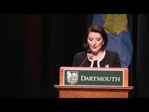 Atifete Jahjaga, President of the Republic of Kosovo, Speaks at Dartmouth