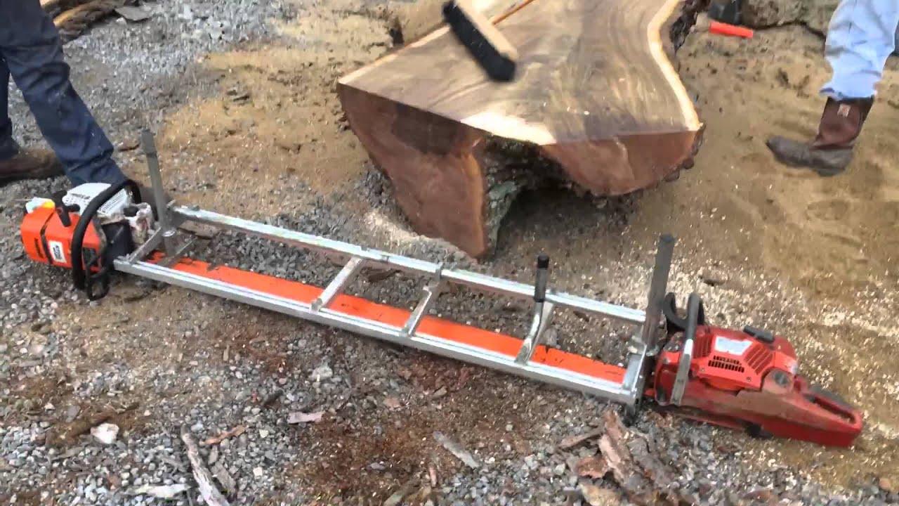 Live Edge Walnut Wood Slabs Being Cut With Alaskan Sawmill