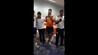Yuvraj Singh and Shikhar Dhawan Singing a Winning song after IPL match for Sunrisers Hyderabad