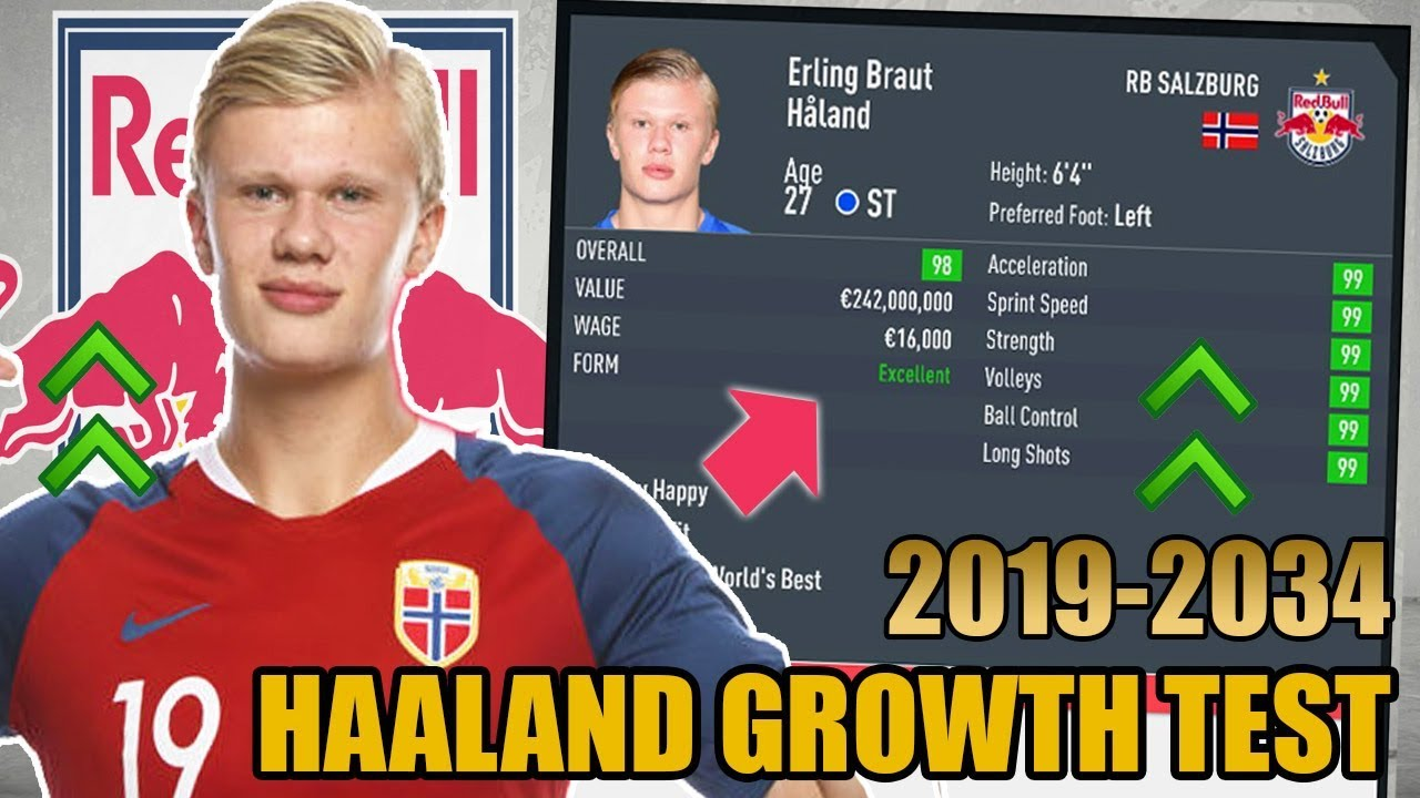 Erling Haaland Growth Test 2019 2034 Fifa 20 Career Mode Youtube