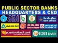 Public Sector Banks CEO & Headquarters 2018 l Banks in Indian l Banking l SSC l  UPSC