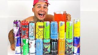 100 ENERGY DRINKS IN SMOOTHIE!! (WORLDS MOST DANGEROUS ENERGETIC DRINK)