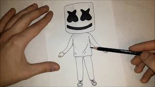 Как нарисовать Маршмелло легко? Лёгкие рисунки для детей и начинающих №250