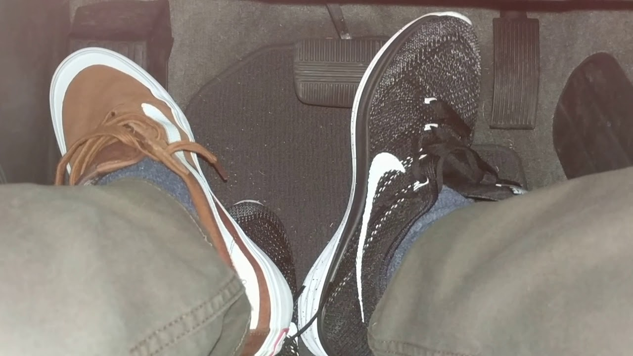 1e5f4c555a Driving In Nike Lunar Flyknit 3 Running Shoes and Vans Pro Model Style 112  Skateboarding Shoes