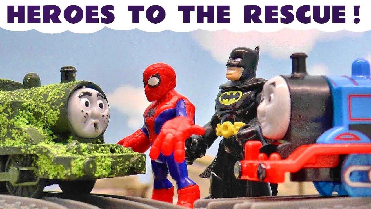 Thomas & Friends Tom Moss Prank needs Superheroes Spiderman Batman Superman and Iron Man TT4U