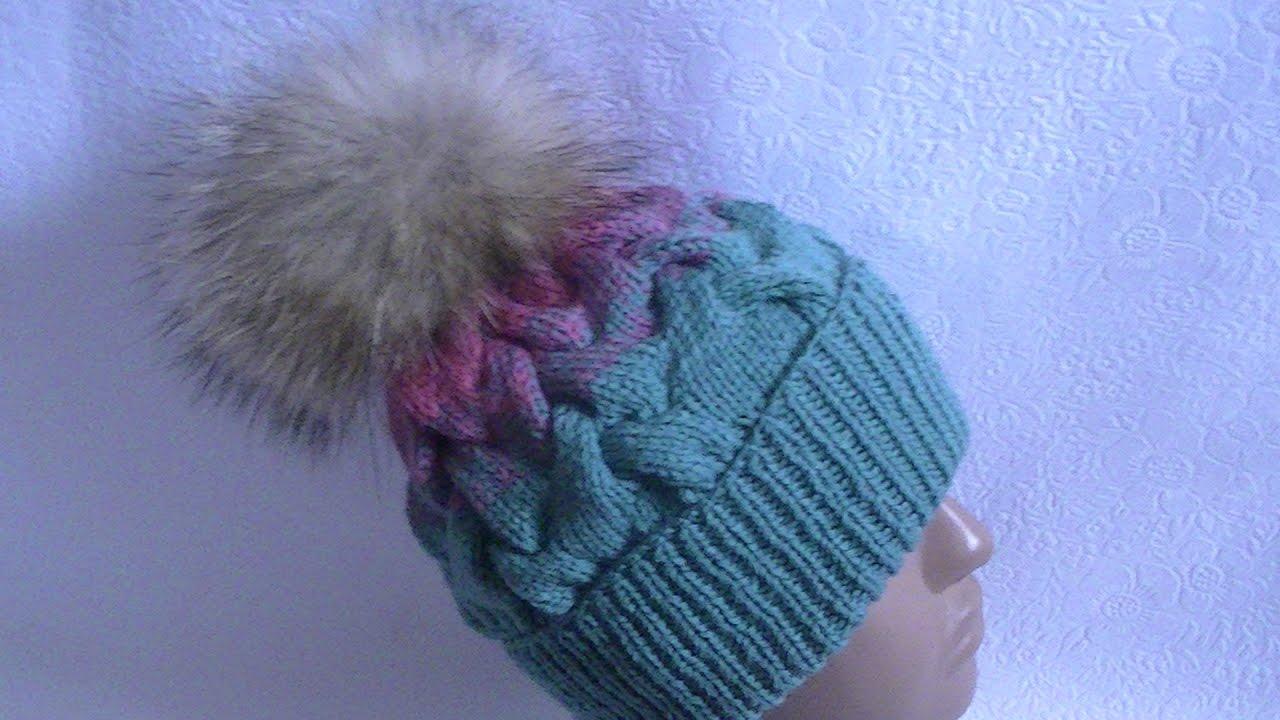 вязание шапки с косами градиентомknitting Hats With Braids Gradient