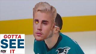 GOTTA SEE IT: Tomas Hertl Dons Justin Bieber Mask During  Save Streak Attempt Vs. Jordan  Binnington