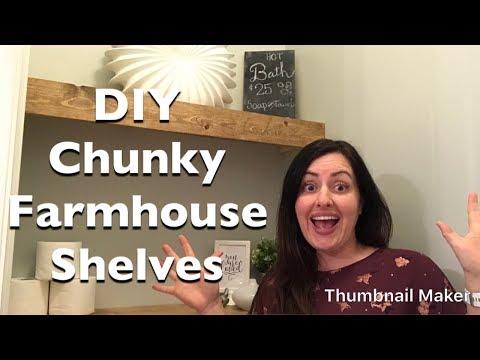 Easy DIY Chunky farmhouse shelves