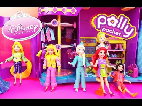 Polly Pocket Dolls Clothes Dress Up Fashion Challenge Game for Kids Toys Disney Princess Magiclip